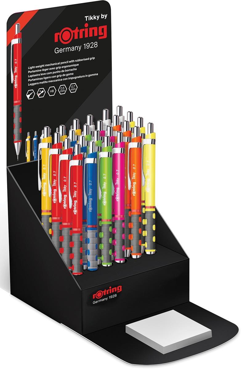 Rotring vulpotlood Tikky, display van 24 stuks in geassorteerde neon kleuren