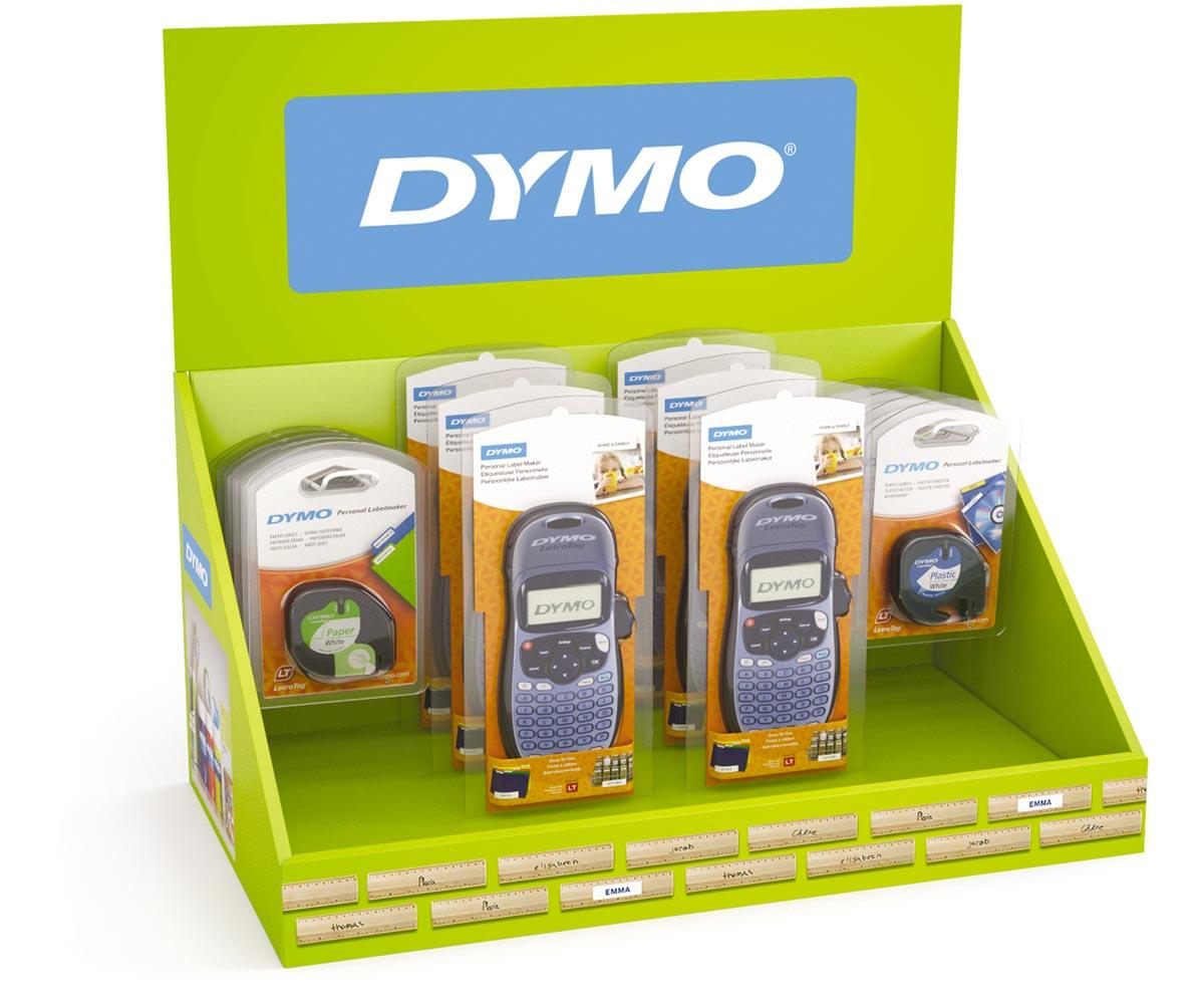 Dymo Letratag 100H toonbankdisplay, toestellen en tapes, display van 26 stuks