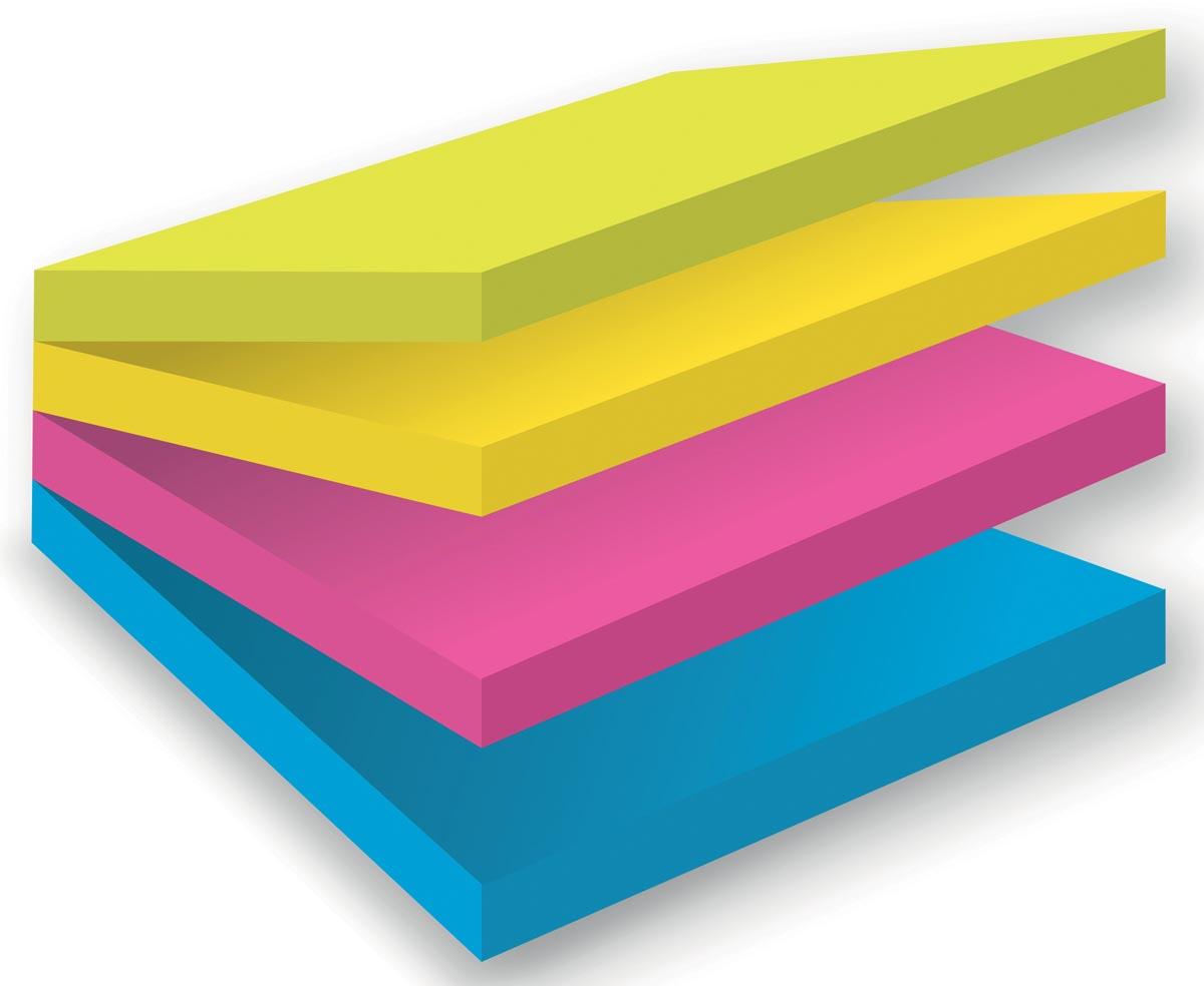 Post-it Super Sticky Multicolor Notes Rio, ft 76 x 76 mm, 75 blaadjes, blister van 4 blokken