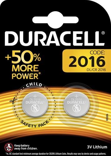 Duracell knoopcel Electronics CR2016, blister van 2 stuks