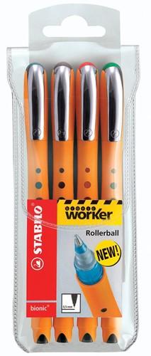 STABILO worker+ roller, 0,4 mm, etui van 4 stuks in geassorteerde kleuren