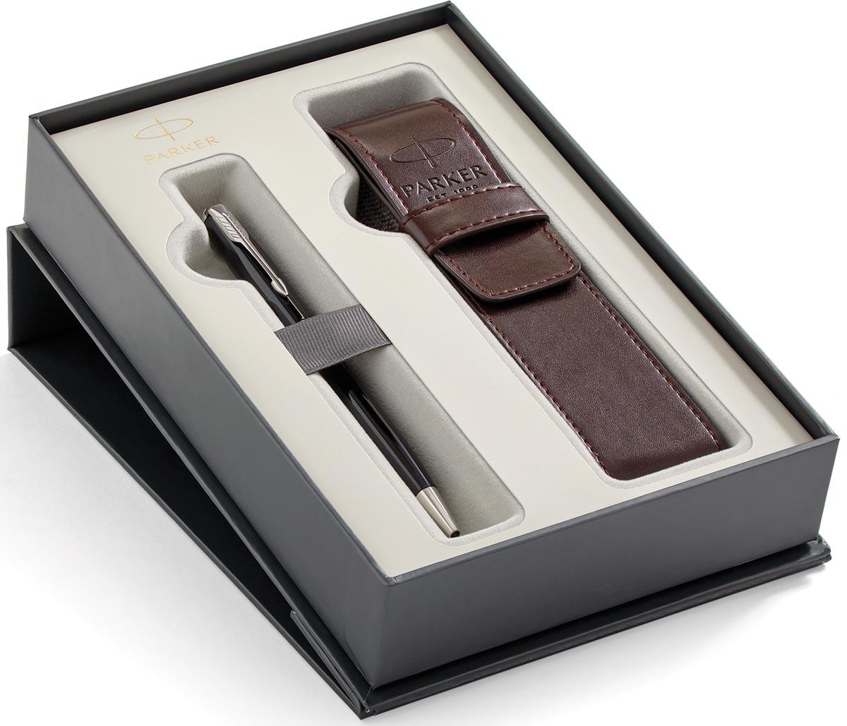 Parker giftbox Sonnet balpen + pen pouch, zwart