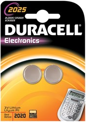 Duracell knoopcel Electronics CR2025, blister van 2 stuks
