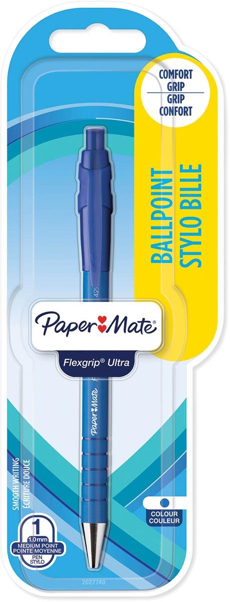Paper Mate balpen Flexgrip Ultra RT medium, blister van 1 stuk, blauw