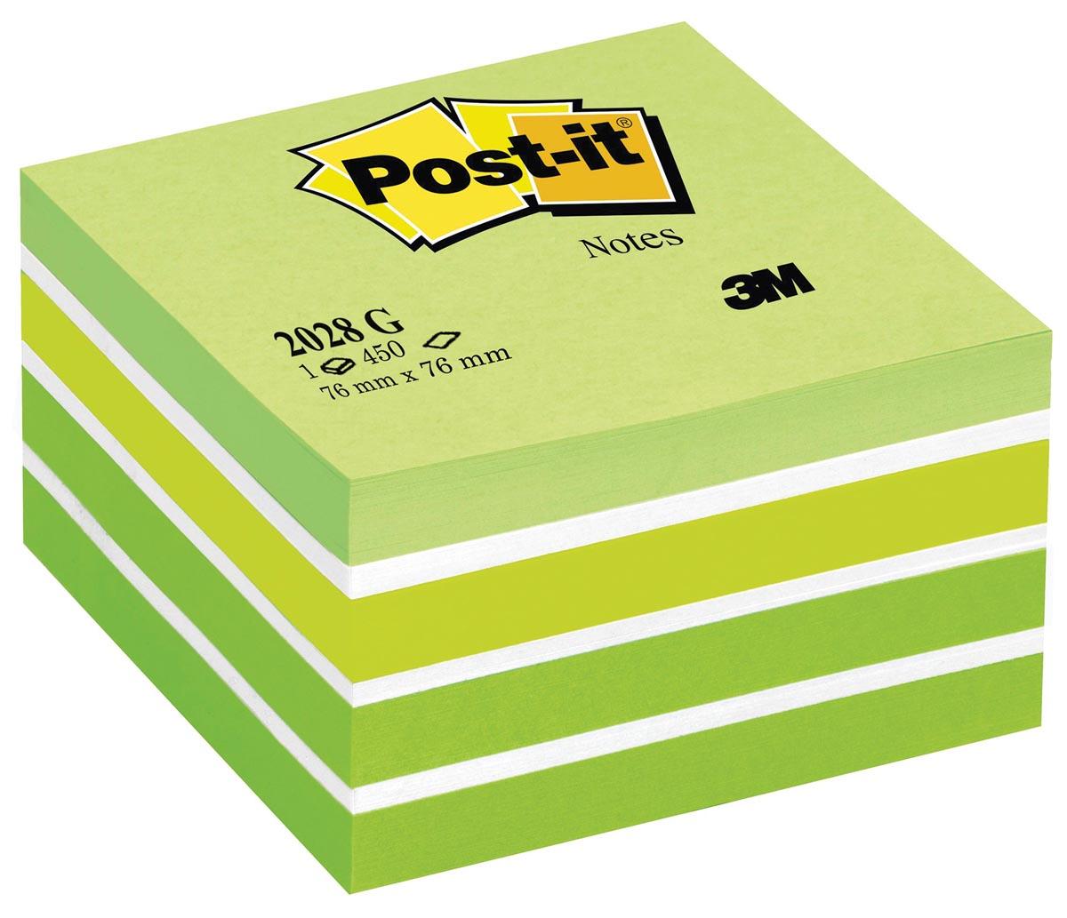 Post-It Notes kubus, ft 76 x 76 mm, pastelgroen