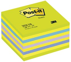 Post-it Notes, ft 76 x 76 mm, assortiment blauw en neongroen, blok van 450 vel