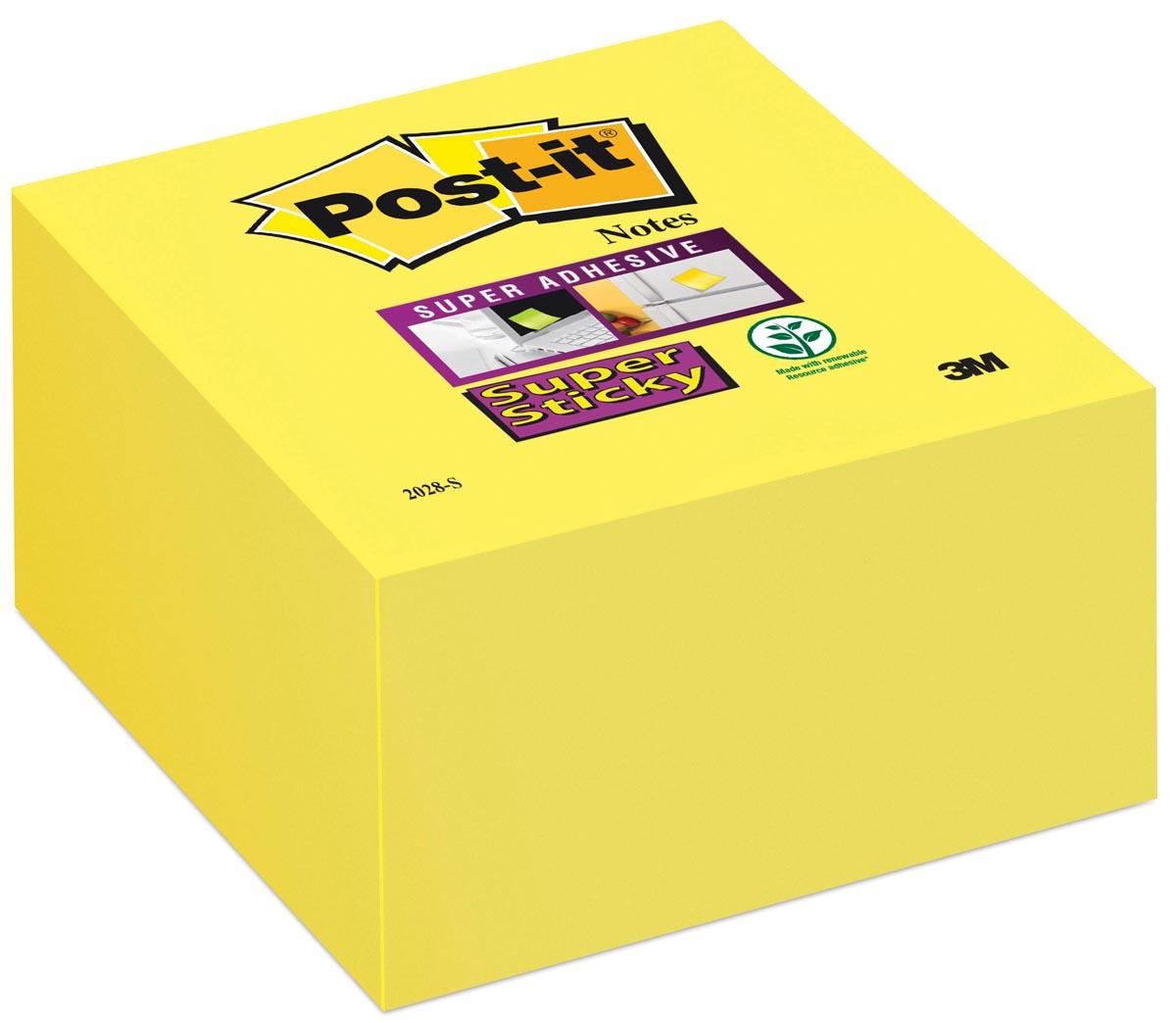 Post-it Super Sticky notes, ft 76 x 76 mm, neongeel, blok van 350 vel