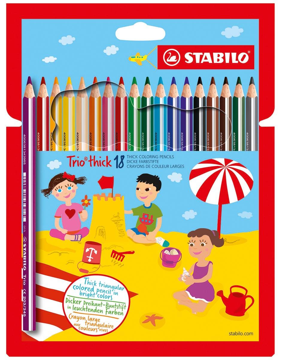 STABILO Trio thick kleurpotlood, etui van 18 stuks in geassorteerde kleuren