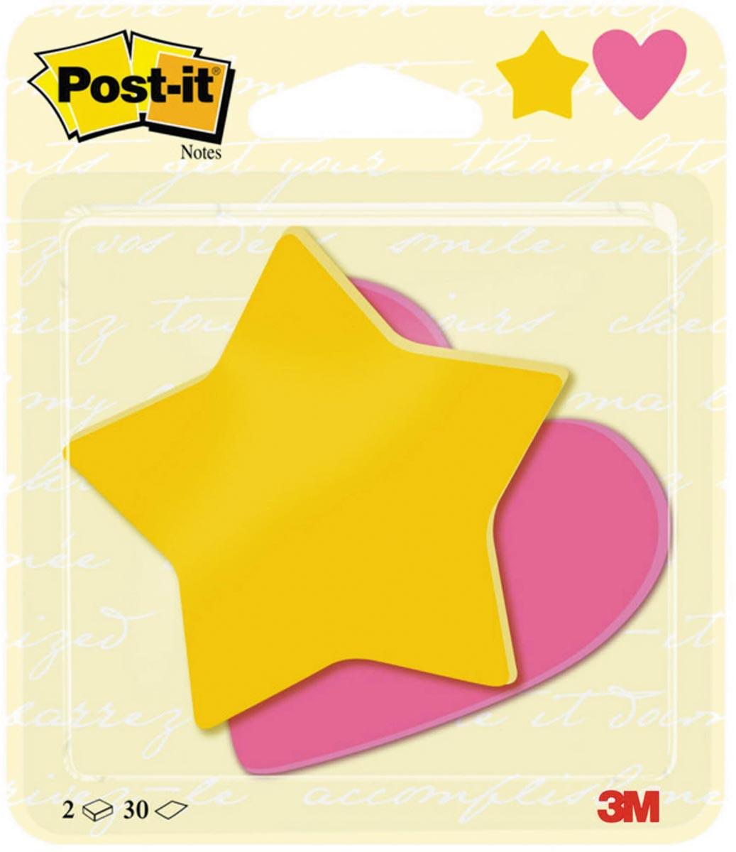 Post-it notitieblaadjes, gestanst in de vorm van sterren en hartjes, 70 mm x 72 mm, 2 x 30 vellen