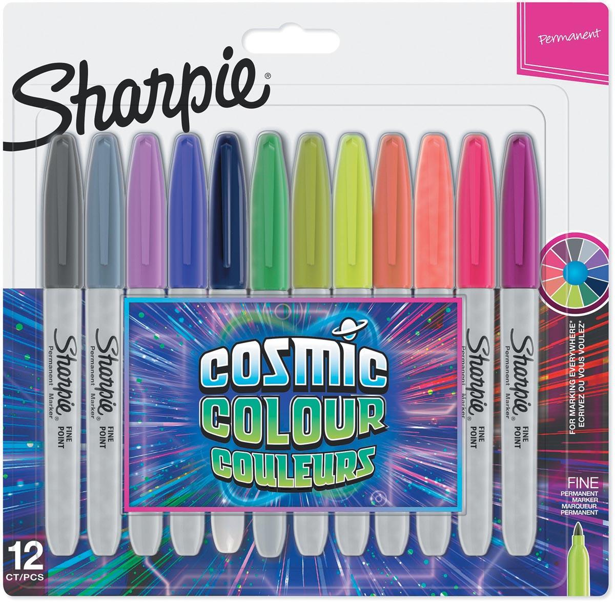Sharpie permanente marker cosmic colour, fijne punt, blister van 12 stuks in geassorteerde kleuren