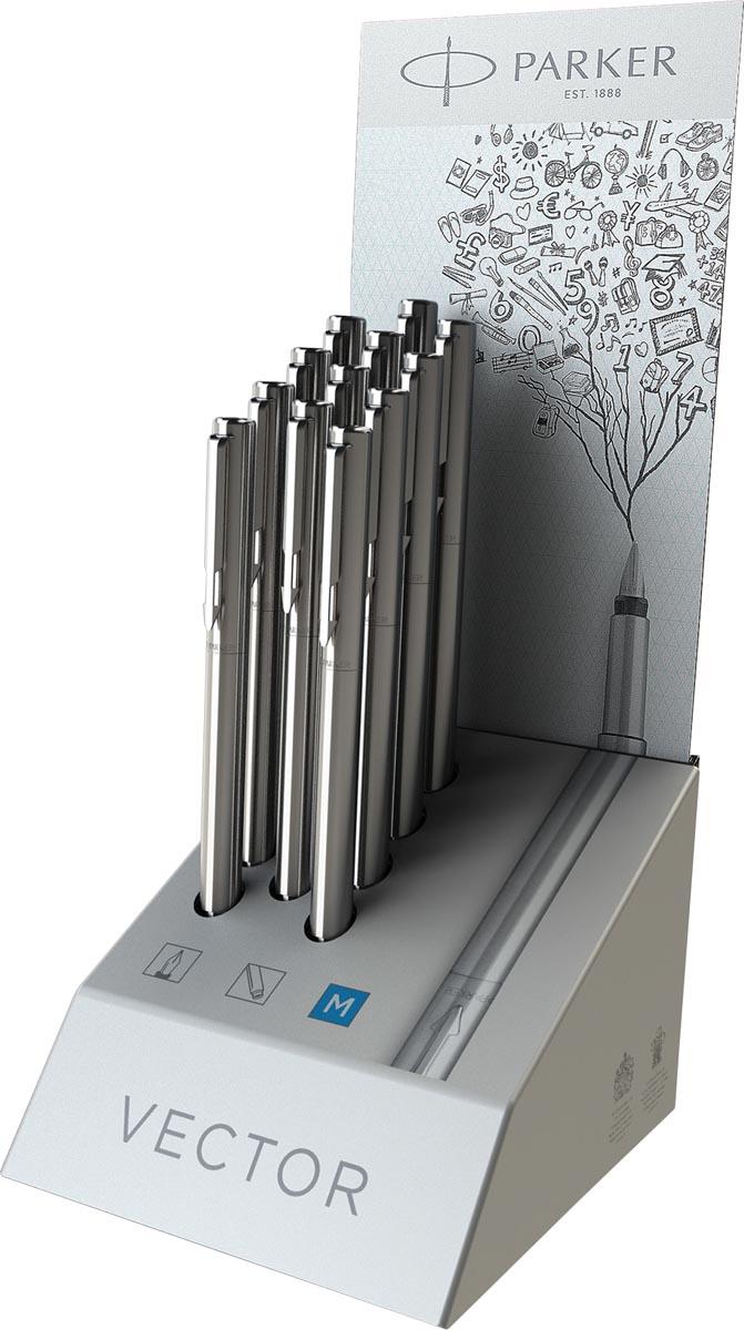Parker vulpen Vector Steel, display met 12 stuks