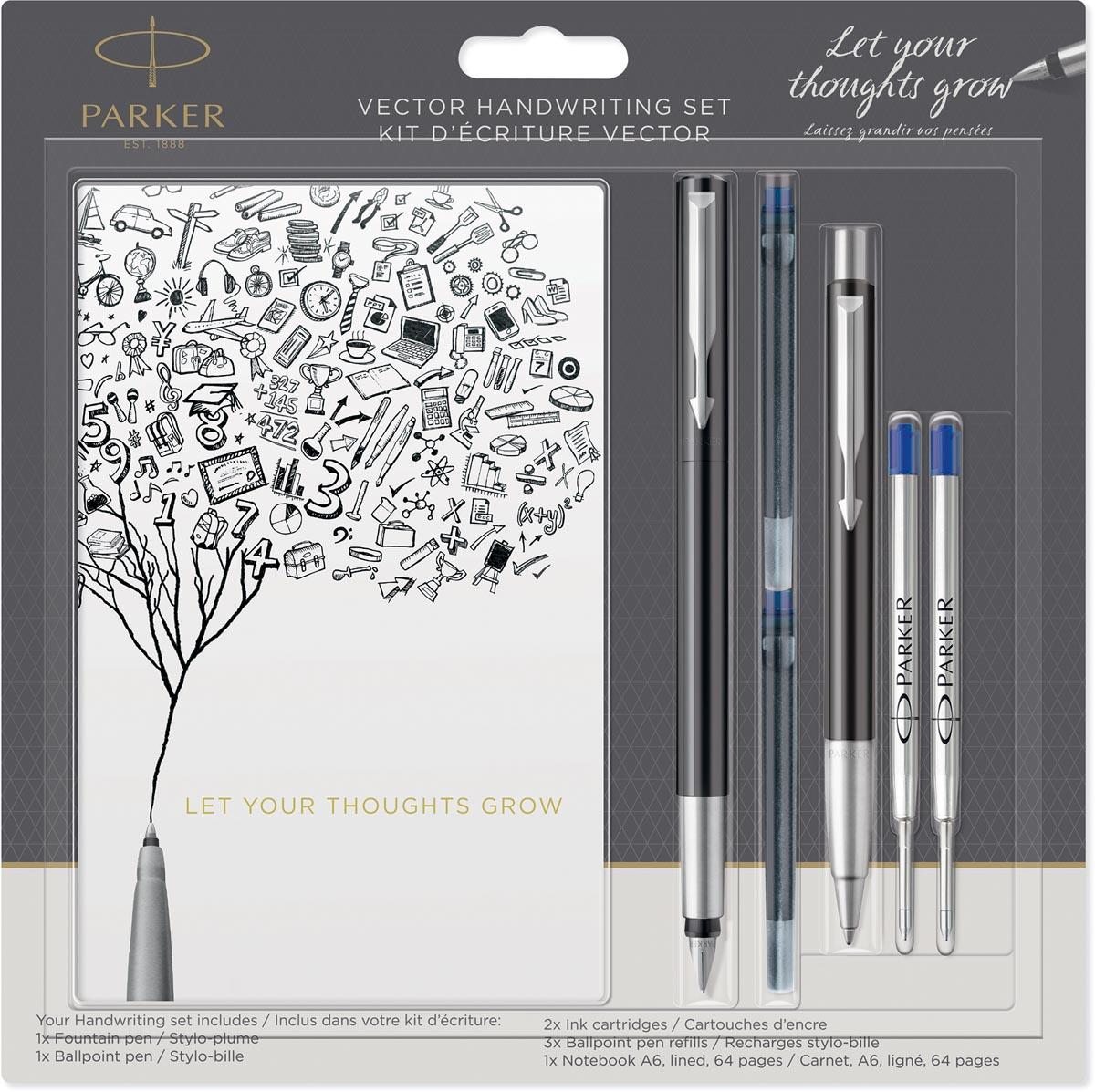 Parker schrijfset Vector vulpen, balpen, schriftje en vullingen, op blister, in geassorteerde kleure