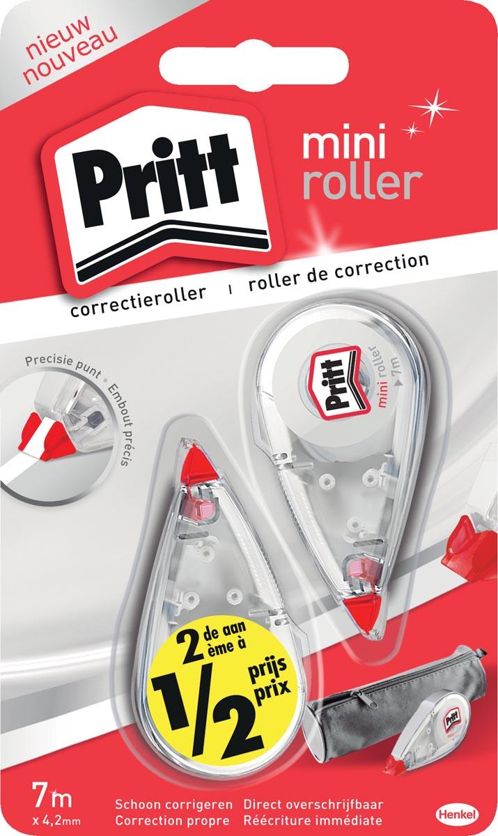 Pritt mini correctieroller, blister met 2 stuks waarvan 2de aan halve prijs