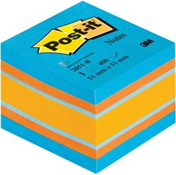 Post-it Notes, ft 51 x 51 mm, assortiment blauw en oranje, blok van 400 vel