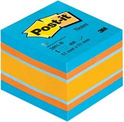 Post-it Notes, ft 51 x 51 mm, assortiment blauw en oranje, blok van 400 vel