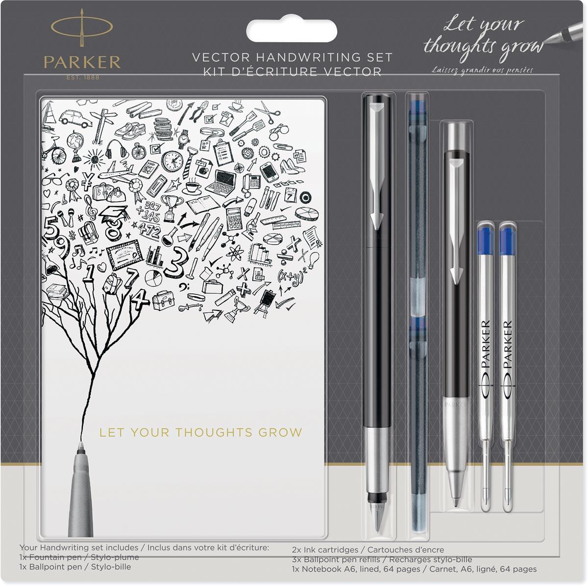 Parker schrijfset Vector vulpen, balpen, schriftje en vullingen, op blister, zwart