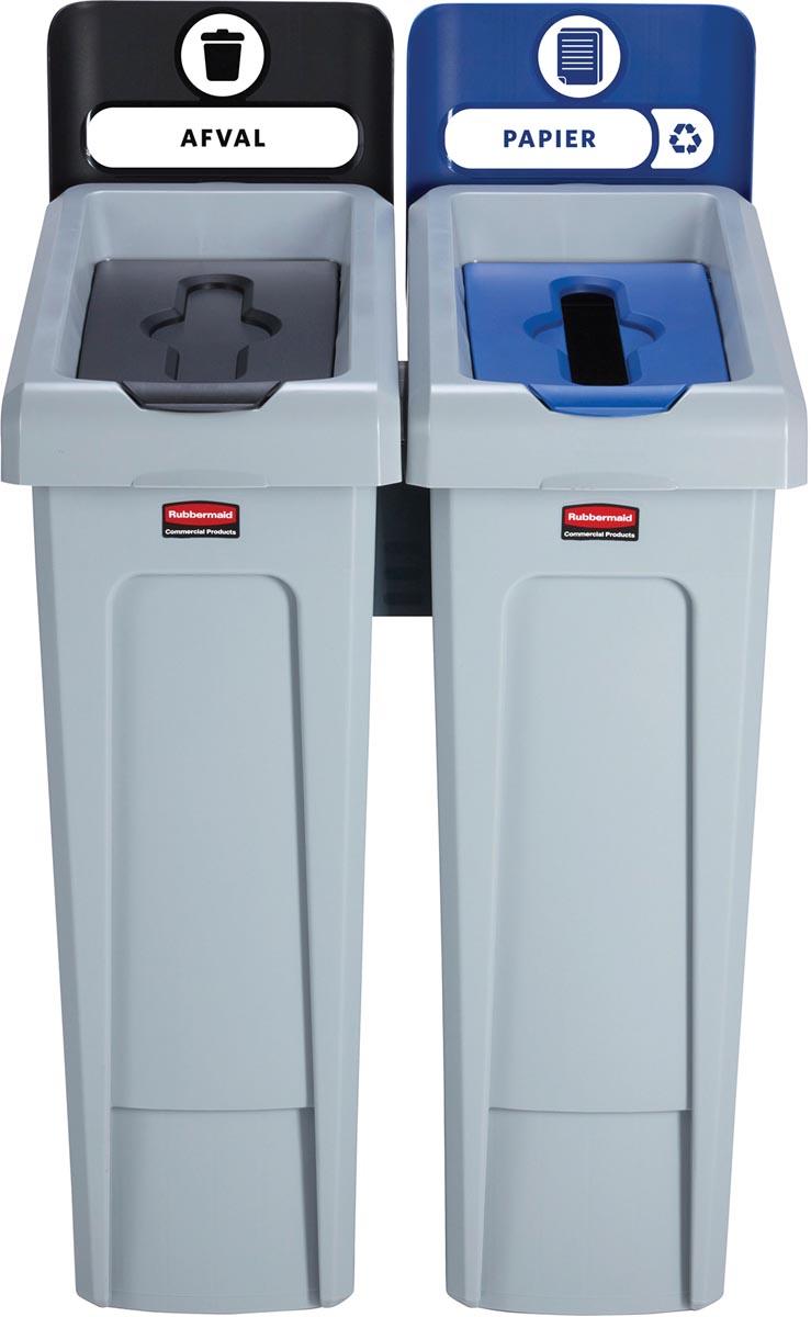 Rubbermaid Slim Jim Recyclingstation voor afval en papier, zwart / blauw