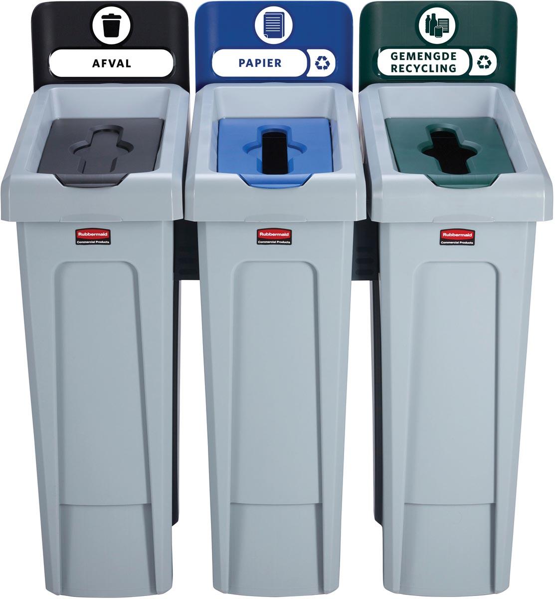 Rubbermaid Slim Jim Recyclingstation voor afval, papier en gemengde recycling, zwart / blauw / groen