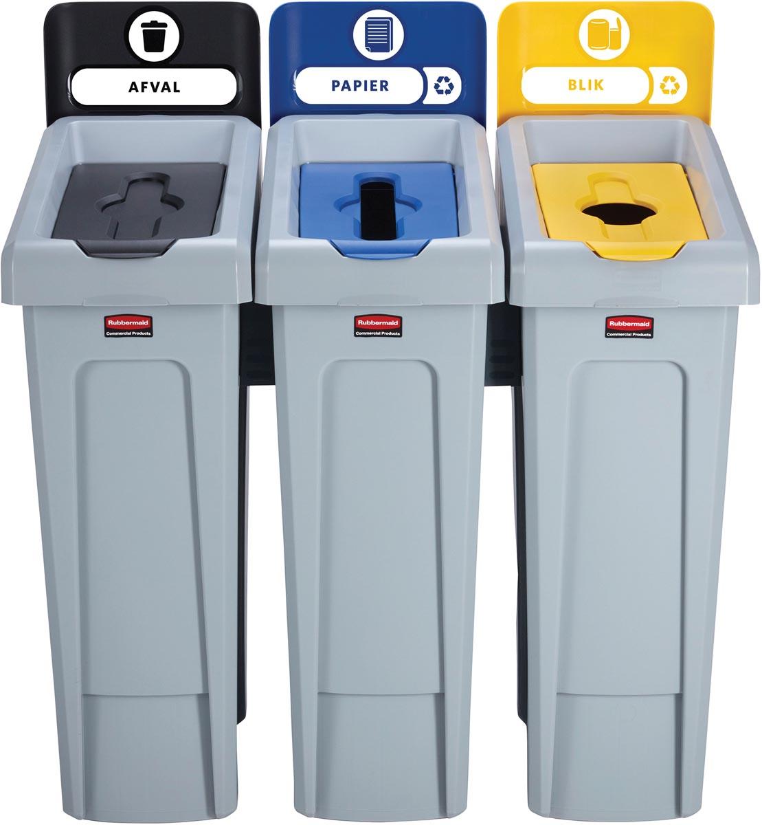 Rubbermaid Slim Jim Recyclingstation voor afval, papier en kunststof, zwart / blauw / geel