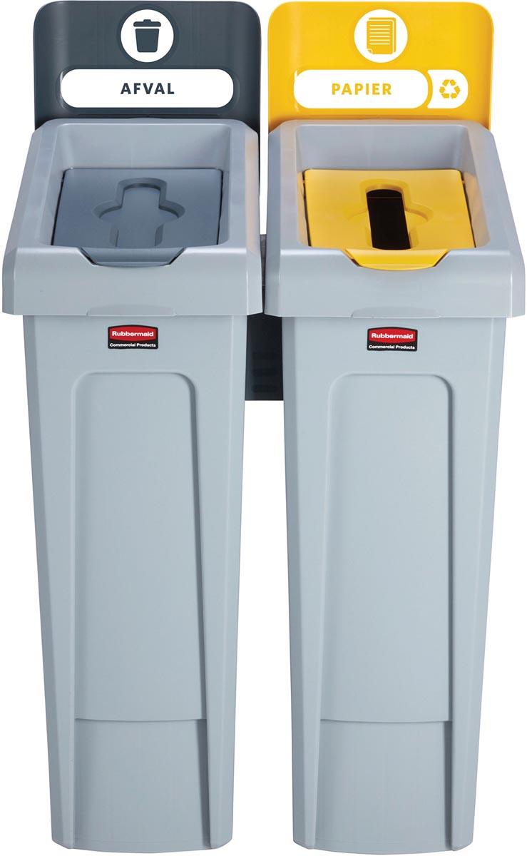 Rubbermaid Slim Jim Recyclingstation voor afval en papier kleur, grijs / geel