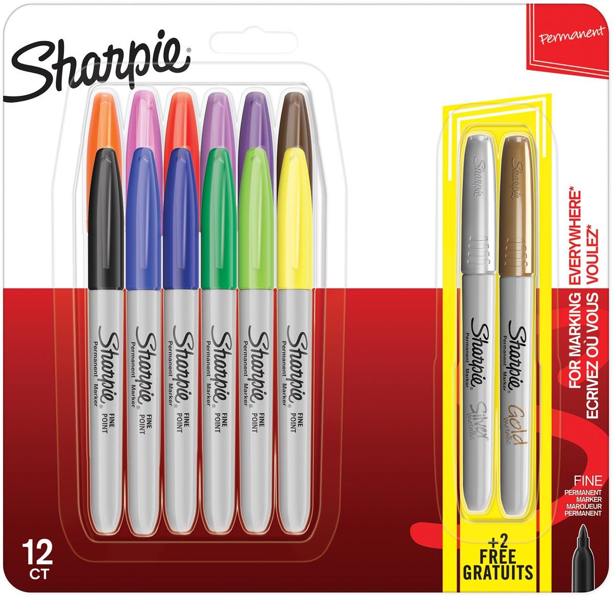 Sharpie permanente marker pastel, blister van 12 stuks + 2 GRATIS