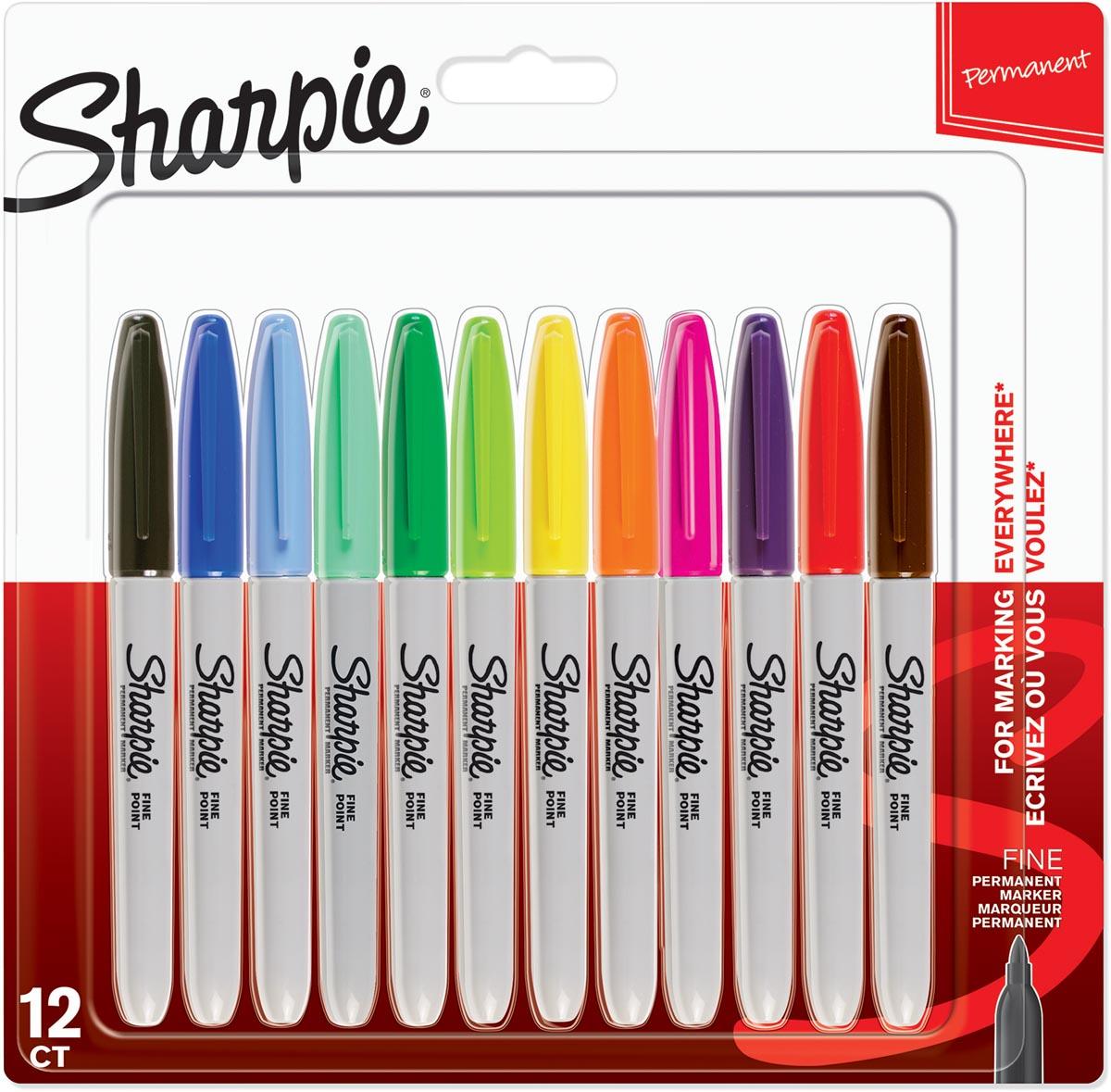 Sharpie permanente marker, fijn, blister van 12 stuks in geassorteerde kleuren