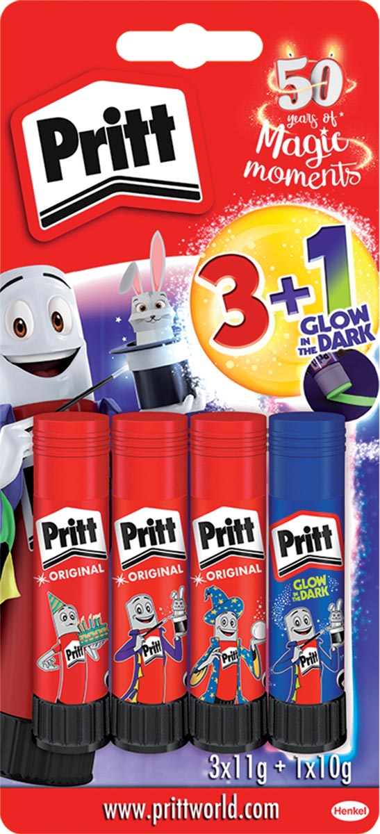 Pritt plakstift 3 x 11 g + 1 glow in the dark 10 g gratis, op blister
