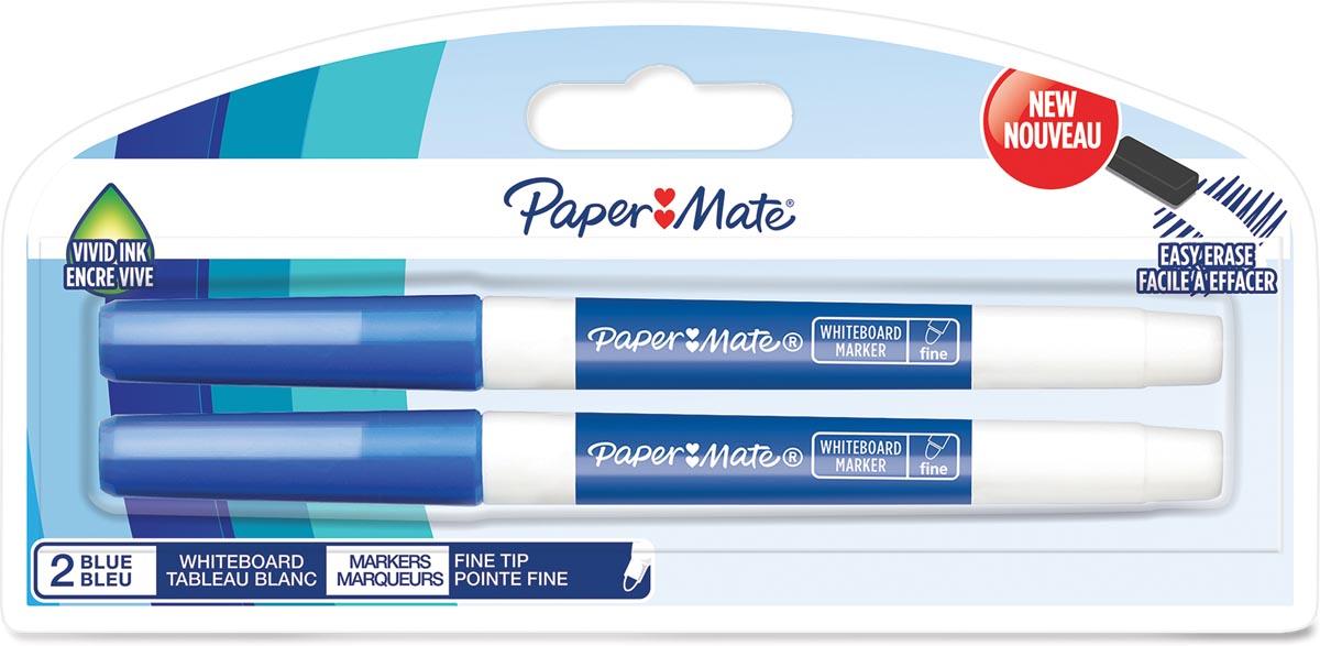 Paper Mate whiteboardmarker met fijne punt, blister van 2 stuks, blauw