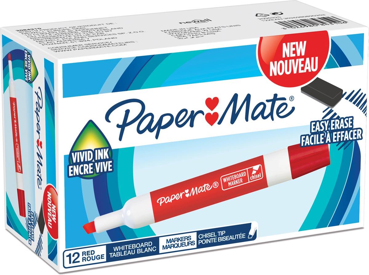 Paper Mate whiteboardmarker met schuine punt, rood