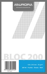 Kladblok ft 13,5 x 21 cm, geruit 5 mm