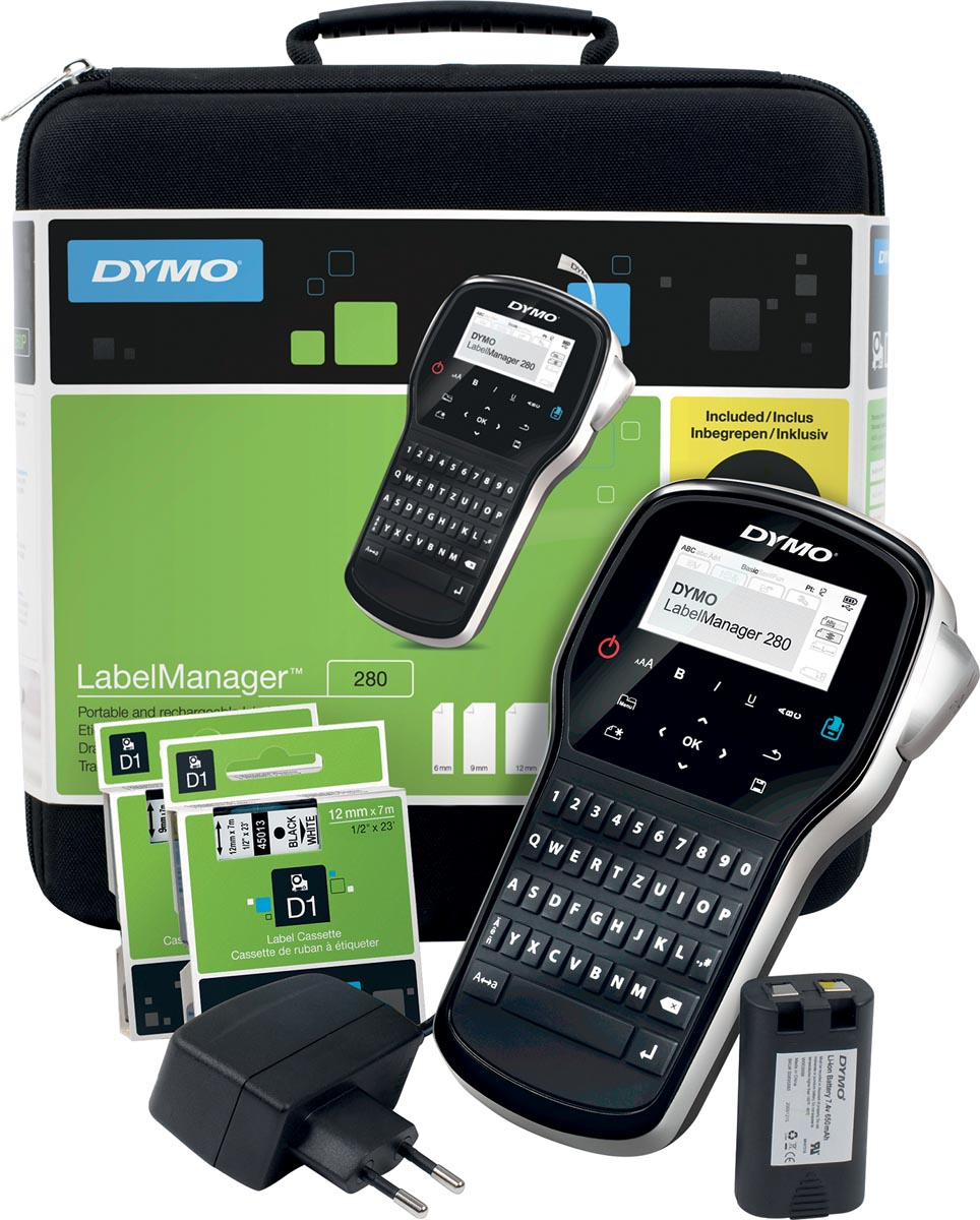 Dymo beletteringsysteem LabelManager 280 kit, qwerty, inclusief 2 x D1 tape, draagtas en oplader