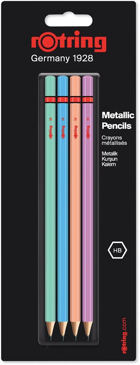 Rotring potloden, HB, geassorteerde metallic kleuren, blister met 4 stuks