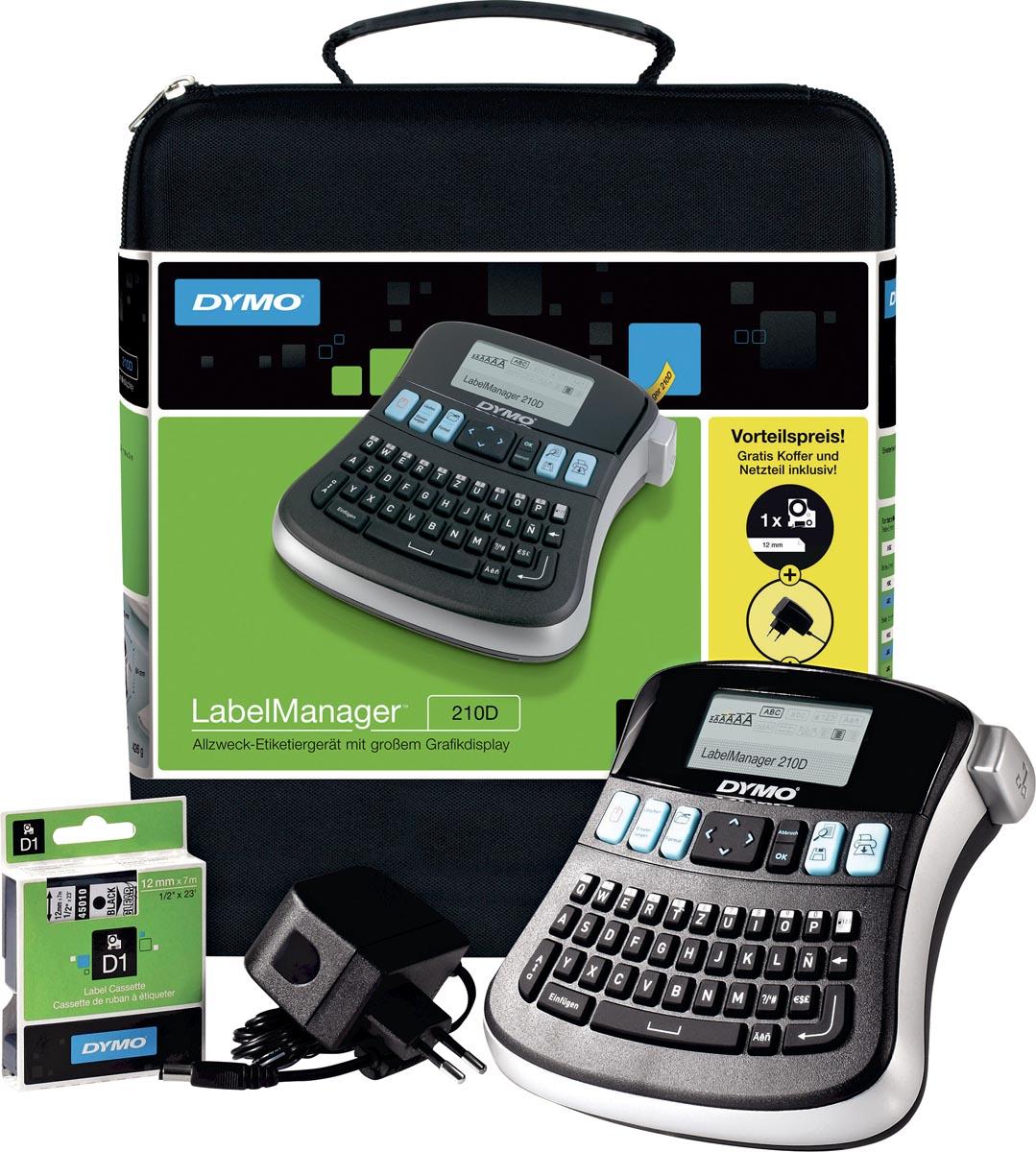 Dymo beletteringsysteem LabelManager 210D kit, qwerty, inclusief D1 tape zwart/wit, draagtas en opla