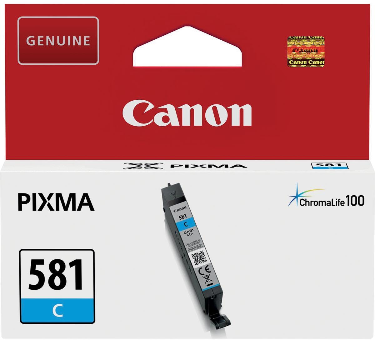 Canon inktcartridge CLI-581C, 259 pagina's, OEM 2103C001, cyaan
