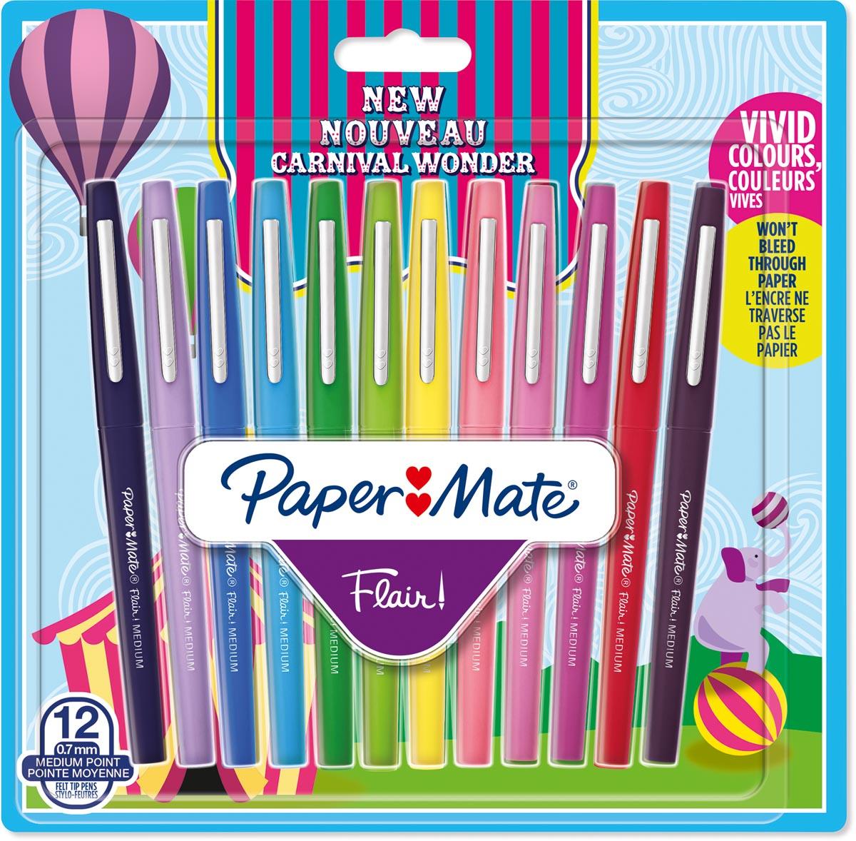 Paper Mate viltstift Flair Carnaval, blister met 12 stuks in geassorteerde kleuren