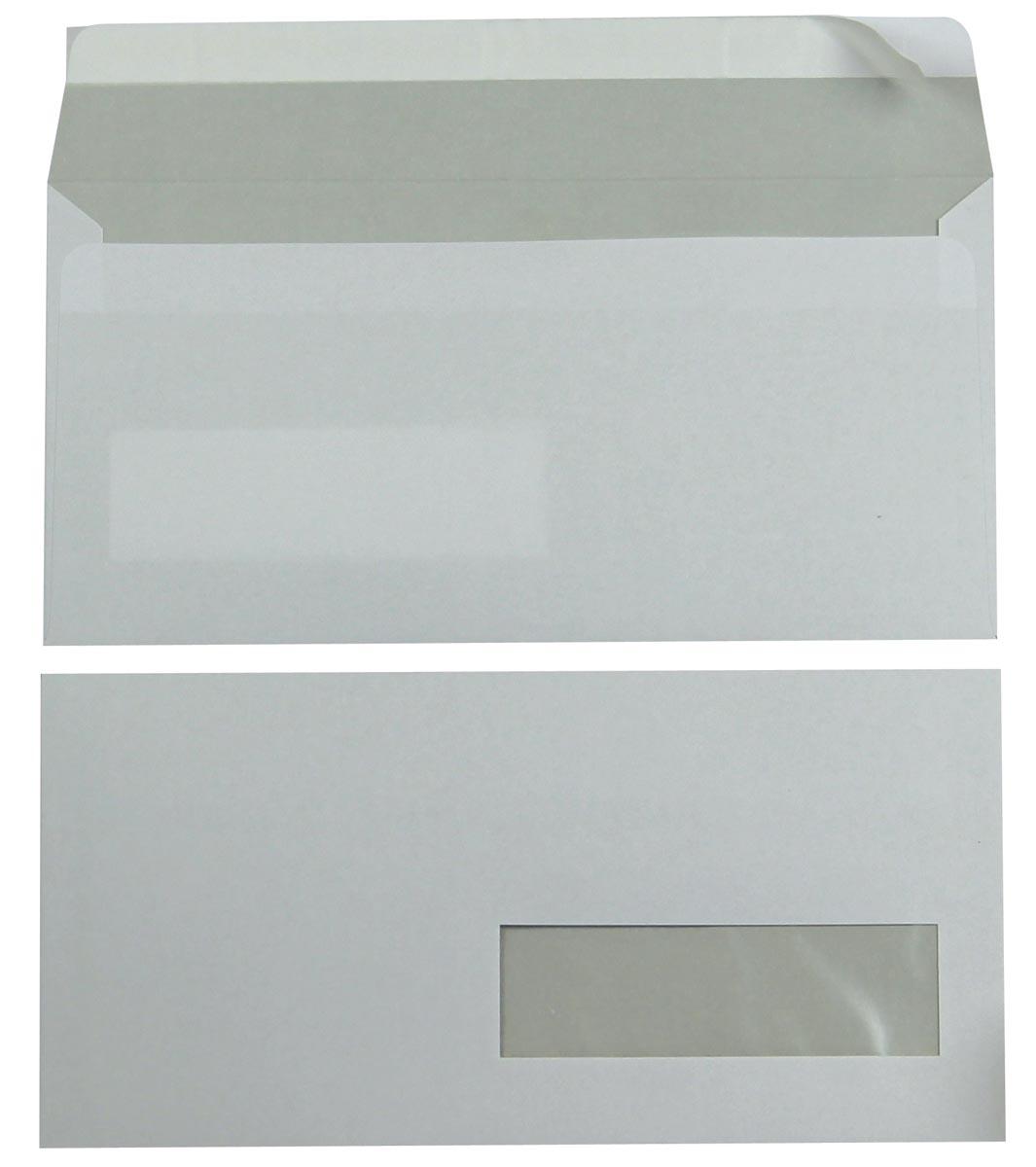 Bong enveloppen ft 110 x 220 mm, venster rechts, met stripsluiting, doos van 500 stuks
