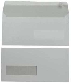 Bong enveloppen ft 110 x 220 mm, venster links, met stripsluiting, doos van 500 stuks