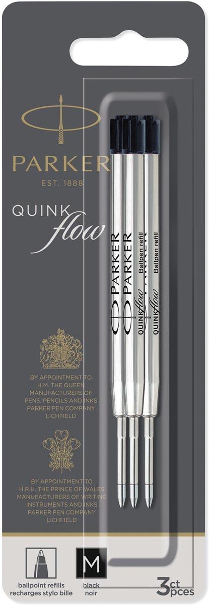 Parker Quinkflow vulling voor balpen, medium, zwart, blister met 3 stuks