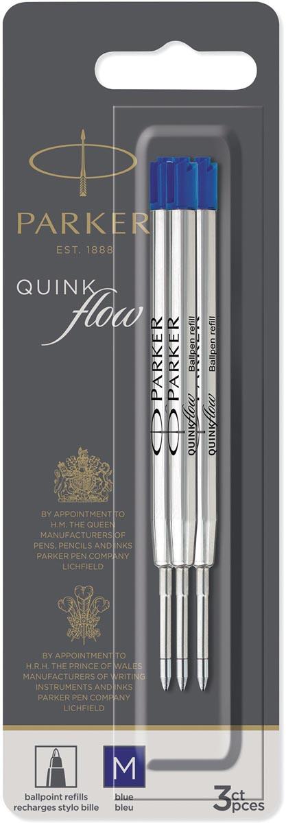 Parker Quinkflow vulling voor balpen, medium, blauw, blister met 3 stuks
