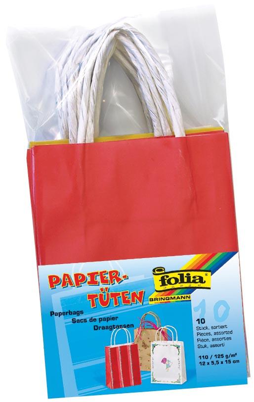 Folia papieren kraft zak, 110-125 g/m�, geassorteerde kleuren, pak van 10 stuks