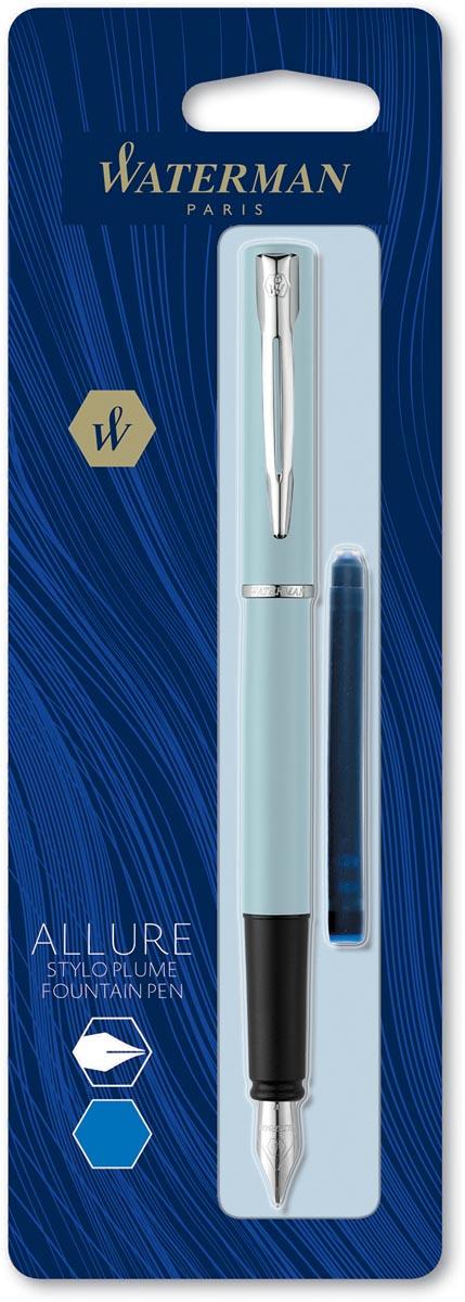 Waterman vulpen Allure pastel fijne punt, op blister, blauw