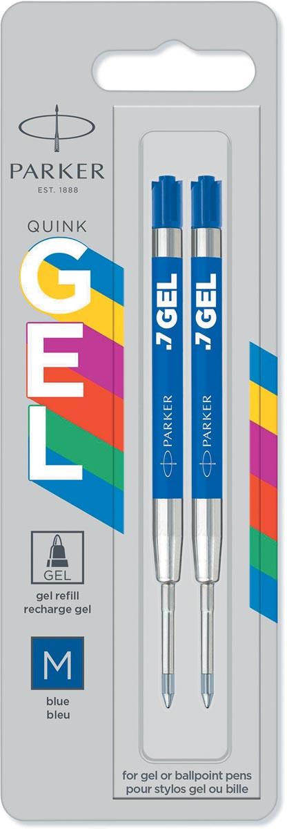 Parker gelvulling voor balpen medium, 0,7 mm, blauw, blister van 2 stuks