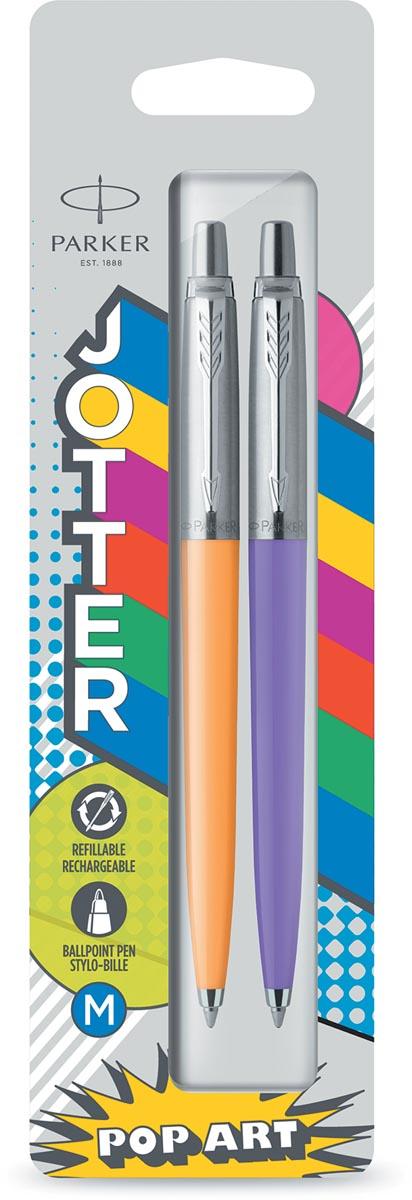 Parker Jotter Originals balpen, blister met 2 stuks, oranje/paars