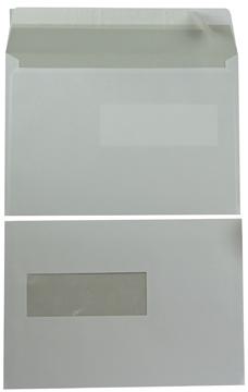 Enveloppen Ft 156 x 220 mm met venster links met stripsluiting, wit, doos van 500 stuks
