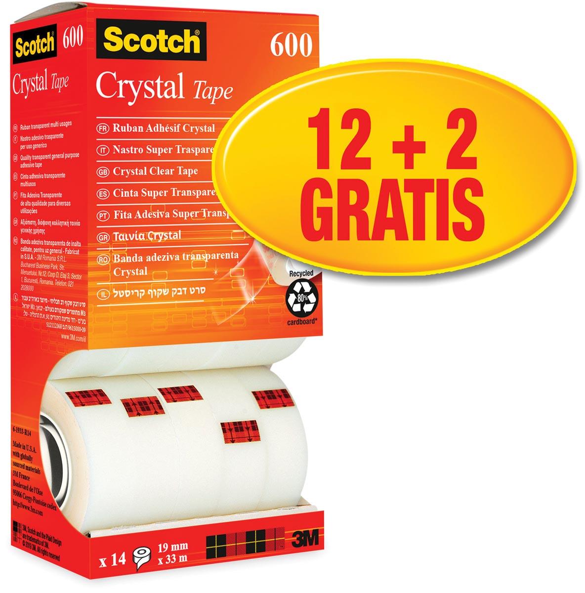 Scotch Plakband Crystal ft 19 mm x 33 m, doos met 14 rolletjes (12 + 2 gratis)