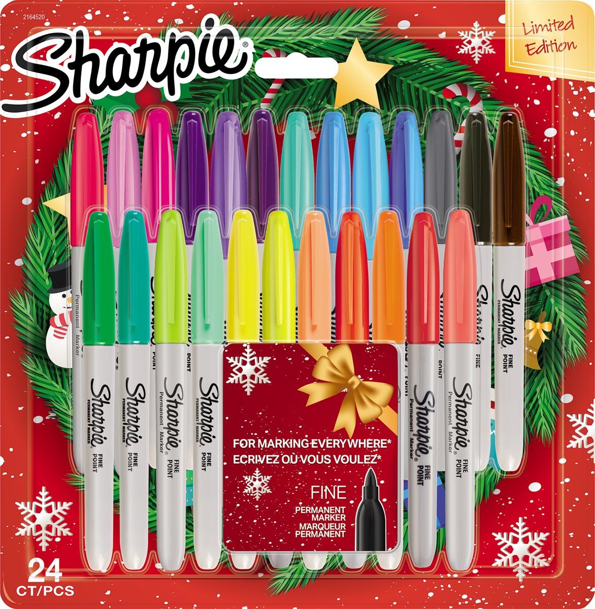 Sharpie permanente marker Kerst limited edition, fijne punt, blister van 24 stuks, geassorteerde kle