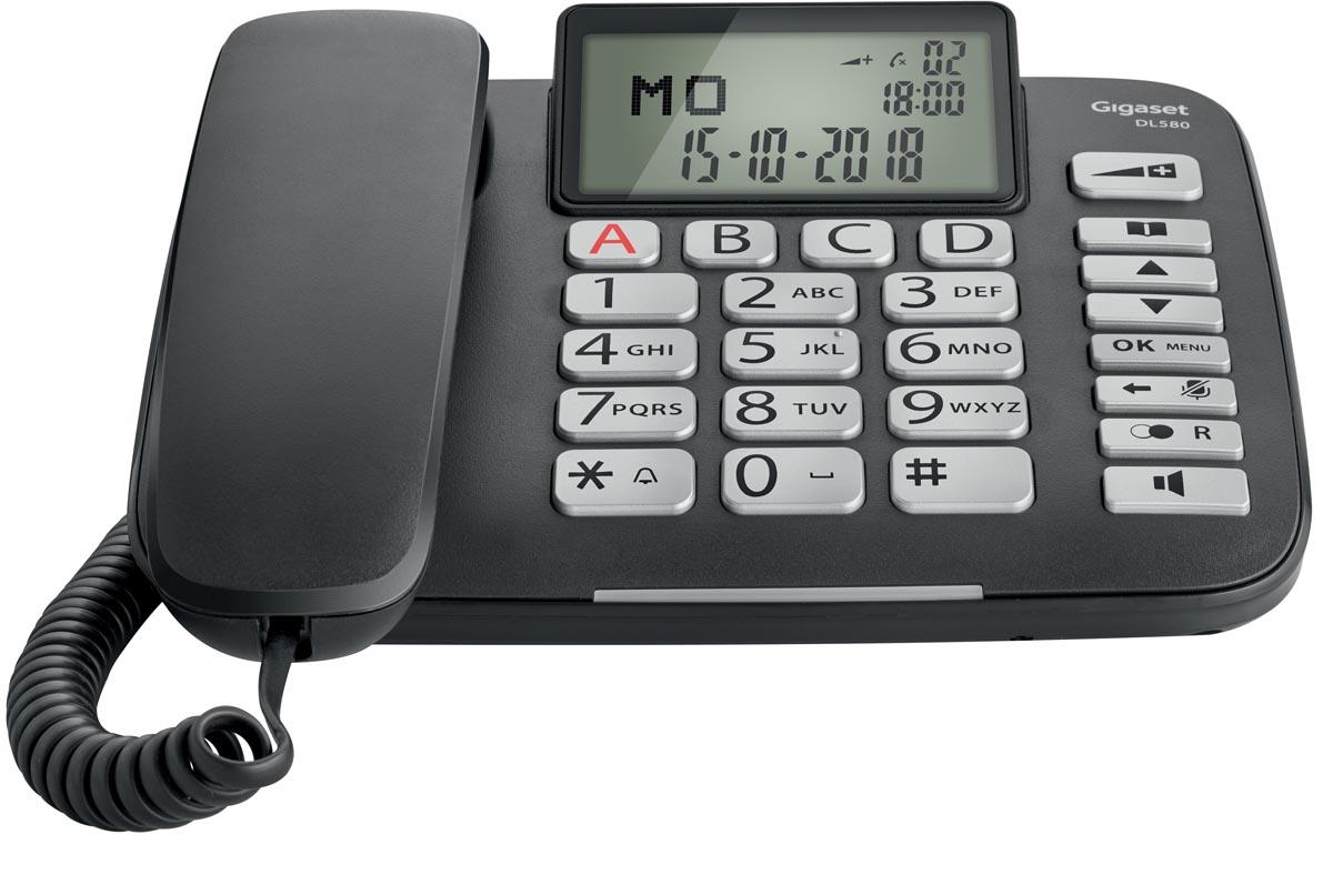 Gigaset DL580 vaste telefoon, grote toetsen, zwart