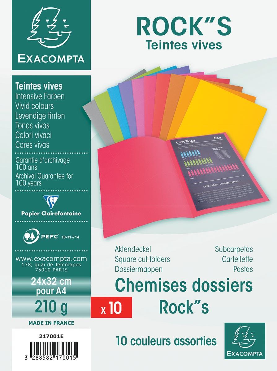 Exacompta dossiermap Rock''s 220, ft A4, pak van 10 stuks, geassorteerde kleuren
