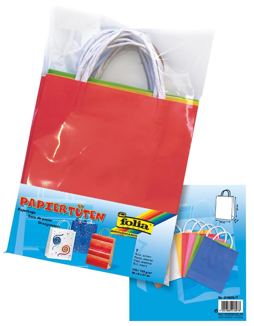 Folia papieren kraft zak, 110-125 g/m�, geassorteerde kleuren, pak van 7 stuks