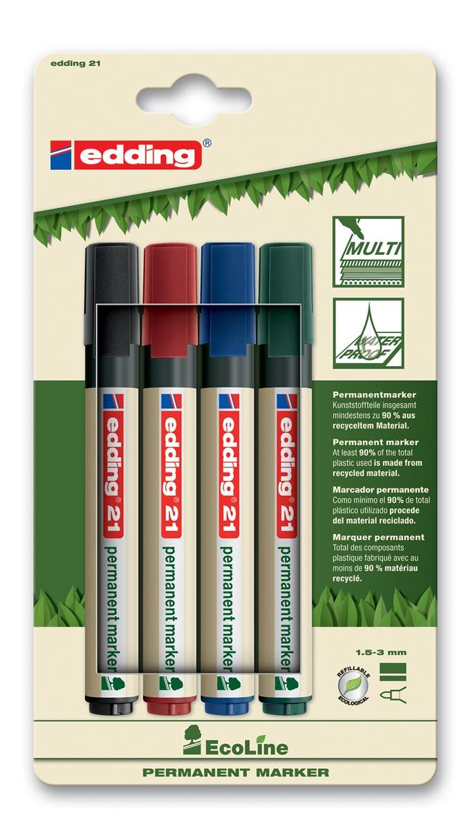 Edding permanent marker Ecoline e-21 set van 4 stuks in geassorteerde kleuren